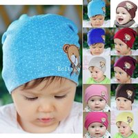 cotton beanies - Newborn Infant Toddler Girl Boy Baby Cap Cute Bear Polka Dot Beanie Cotton Hat fx305 Freeshipping