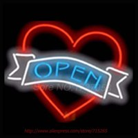 Wholesale Open with Heart NEON SIGN Beer Bar Pub Art Neon Bulbs Neon Light Real Glass Tube Beer Bar Signs Advertise Neon Recreation x14
