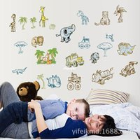 bedroom decoration images - bedroom decoration Creative wall sticker new children s room wall stickers cartoon elephant animal park AY9155 background image