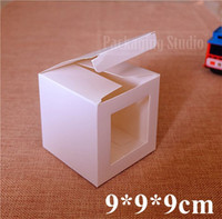 bakery boxes free shipping - White Paper Box with window Gift Craft Bakery Cookies Candy Toys Model Packaging Cardboard Boxes cm