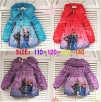 Wholesale FROZEN Anna elsa Down Girl Beiji Rong cotton jacket Children s hooded winter coat Children s Down