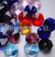 Wholesale 100pcs colors mixed mm crystal glass octagon beads in one hole freeshipping glass crystal octagon beads one hole