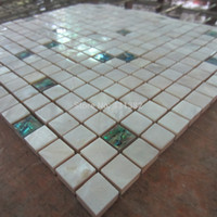 backsplash ceramic tile - Mother of pearl tiles Green white shell tile mixed kitchen backsplash tiles ceramic tiles for bathroom