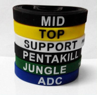 50pcs arrivent LOL GAMES Souvenirs Silicone Wristband LEAGUE de LEGENDS Bracelets avec ADC, JUNGLE, MID, SUPPORT, TOP, Nouveau style Carving D216