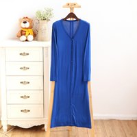 air midi - 12pcs Fashion candy color ultra long modal cardigan sunscreen full dress lengthen long sleeve air conditioning shirt with button