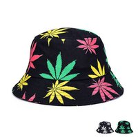 Wholesale Hot Fashion Maple Leaf Printed Bucket Hat Men Women Lover Cotton Fisherman Cap Summer Sun Hats Foldable High Quality DCBF147