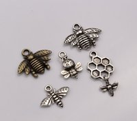 bee mix - Hot sell Fashion Antique Bronze Antique Silver Mixed Lovely Bee Charms pendants DIY Jewelry mn52