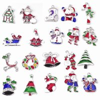 Wholesale 2014 New Fashion Mixed Silver Christmas Jewelry Chandelier Crystal Stones Enamel Christmas Charms Pendant Xams Gift
