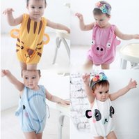 newborn vests - Newborn Clothes Rompers For Babies Baby Boy Girl Romper Children Sleeveless Cotton Vest Jumpsuits Kids Animals Printed Bodysuits N0346