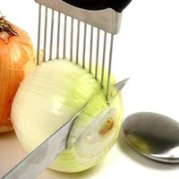 Wholesale Easy Cut Onion Holder Slicer Vegetable tools Tomato Cutter Stainless Steel Kitchen Gadgets No More Stinky Hands U0502