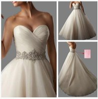 ball gowns - Charming Wedding Dresses Sweetheart Lace Up Vestido De Noiva Crsyatl Sash Bride Ball Gowns