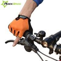 RockBros antideslizante desgaste del verano Deportes guantes para hombre de la bicicleta de paseo en bici de ciclo corto Esponja medios guantes del dedo de la Mujer