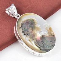 cameo necklace - 2015 Ruby Jewelry Top Quality Luckyshine Classic Oval Cameo Carved Shell Gemstone Silver Pendant American Weddings Jewelry Gift