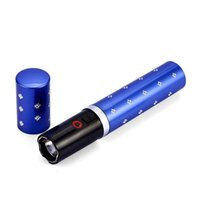 blue led flashlights - 2pcs mini led flashlight super voltage protection device Self Defense Device flashlight Metal Red Black Blue