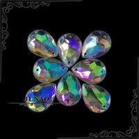 achat en gros de boutons en pierre acrylique-Gros-13 * 18mm Crystal AB Goutte strass Boutons Coudre Acrylique Flatback Gems pierres de cristal Applique pour l'artisanat Décorations 500pc