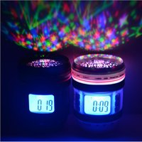 Wholesale NEW Camera Lens Digital LED Alarm Clock with Backlight Multi function Music Starry Projection Calendar LED Star Sky Projector