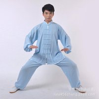 Wholesale and retail of heavy cotton and martial arts practice tai chi clothing costumes and female Pink