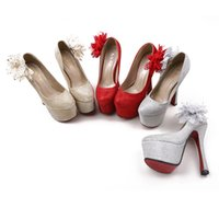 Wholesale Fashion Lovely Platform High Heels Wedding Shoes Flats for Bride Pumps Women High Quality Party Shoes Three Colors Size US