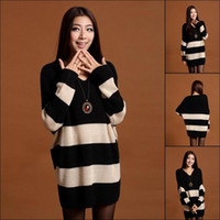 Wholesale BRAND NEW Women Loose Striped Sweater Fashion Lady Warm Batwing Sleeve Knitting Shirt Style Choose ENK