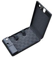 Cheap black fingerprint safe box mini secure box biometric gun security metal jewelry case
