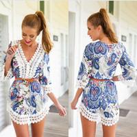 Wholesale Blue Printing Causal Women Jumpsuits Summer Style Lace Hollow Out Ladies Rompers Combinaison Femme Elegant Jumpsuit Women