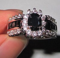 10kt gold jewelry - Lady s Black Diamond Simulated CZ Stone KT White Gold Filled Royal Ring Jenny G Jewelry for Women Nice Gift