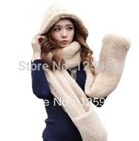 Wholesale New Hot Fashion Winter Warm Sherpa Plush Hooded Scarf Gloves Hat Wrap Scarves Caps