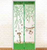 Wholesale Essential New Nature Monkey on Tree Summer Prevent Mosquito Curtain Portiere Screen Door Magnetic Magnet Scenery Magic Mesh