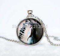 art nouveau necklace - Vintage art nouveau woman dome round glass pendant necklaces retro beauty SILVER necklace woman jewelry CN520