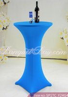 table covers - Blue Color Lycra Spabdex Table Cover Cocktail Table Cloth