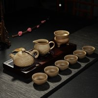 Wholesale Chinese Designer Cheap Reto Lotus Crafts Tea things Sand fired pot Purple clay drink ware Kungfu tea set Tea pot Tea cups Ten piece Sets