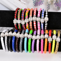 Wholesale 2015 HOT Selling New Crystal Charms Leather Bracelets For Women Magnetic Clasp Infinity Bracelets Bangles Wholesaler Mix Colors
