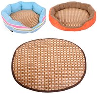 bamboo pet supplies - 2015 Comfortable Cool Summer Round Pet Cat Dog Straw Bamboo Mat Specially Pet Supply Smile