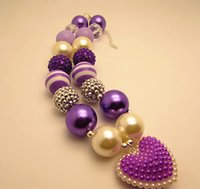 Wholesale Fashionable Lovely Purple Heart Beaded Bubblegum Chunky Acrylic Necklaces Bubble Girls Children Kids Necklace Jewelry
