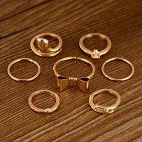 Wholesale R173 Punk Promotion Gold Color Skull Bowknot Heart Nail Simple Band Mid Finger Top Stacking Rings Set for Women Men J0059