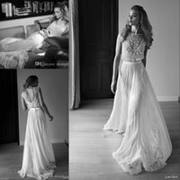 Trumpet/Mermaid two piece wedding dress - 2016 Lace Vintage Wedding Dresses Beach A Line Sheer Neck Bohemian Boho With Short Capped Sleeves Two Pieces Beaded Lihi Hod Bridal Gowns