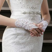 Wholesale Stock _Beautiful Ivory White Fingerless Beaded Wrist Wedding Bridal Gloves