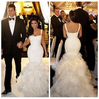 Cheap Berta Bridal 2014 Bodice Mermaid With Spaghetti Straps Mermaid Wedding Bridal Dress Floor Length Long With Luxury Tier Skirt DH-v150253