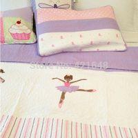 ballerina bedding - applique ballerina girl bedding set princess handmade applique patchwork quilt bedspread set cm