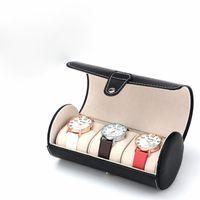 Wholesale 3 grid cylinder watch box Luxury watches box PU leather watch box watch box Smart Watch box