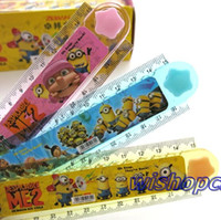 folding ruler - New Mixed set Despicable Me Cartoon Plastic Folding Ruler Stationery For Kid Gift CM XX4