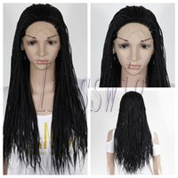 Wholesale Braided Wig Glueless Heat Resistant Synthetic Black Color Braiding Lace Front Wig For black people