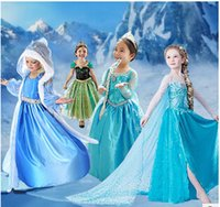 Wholesale top grade Frozen Elsa Anna costume princess dress sequined costume girls dresses Kids Cosplay Costume dress