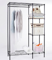 Wholesale Adjustable Closet Steel Wardrobe Rack Shelf with cloth hanger Rack