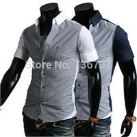 Wholesale 2015 Spring Summer Mens Short Sleeved Dress Shirts Houndstooth fine Spell color Slim Fit Casual Shirts White Navy M XXL C9080