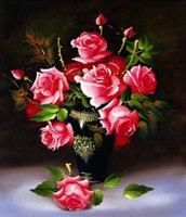 Wholesale 40 Diy diamond D painting rose flower cross stitch wall sticker diamond embroidery Resin round diamond craftssize