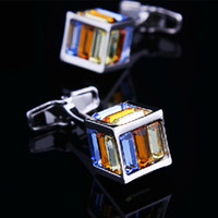 Wholesale C27LTop Silver Plated Color Crystal Square Men Copper Cufflink Pair Exquisite high quality gift Party Wedding Shirt Button