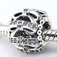 Wholesale 2015 Winter Sterling Silver Shimmering Sentiments Charm Bead with Clear Cz Fits European Pandora Jewelry Bracelets Necklace