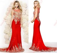 Wholesale 2015 New Arrival Fashion Mid East Sheer Illusion Sweetheart Evening Dresses Mermaid Red Applique Long Formal Woman Party Dresses Zipper