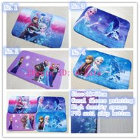 Wholesale Frozen mat Bathroom Coral velvet mats super absorbent doormat snow carpet Romance cartoon non slip mat fashion Lovely antiskid mat